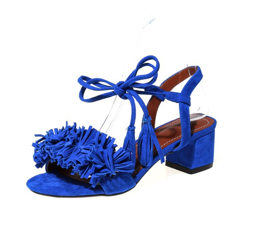 ФОТО Hot sales women shoes Ankle Strap Retro Elegant style women sandals Cross-Strap Square heel Lace-Up fashion Tassel summer shoes
