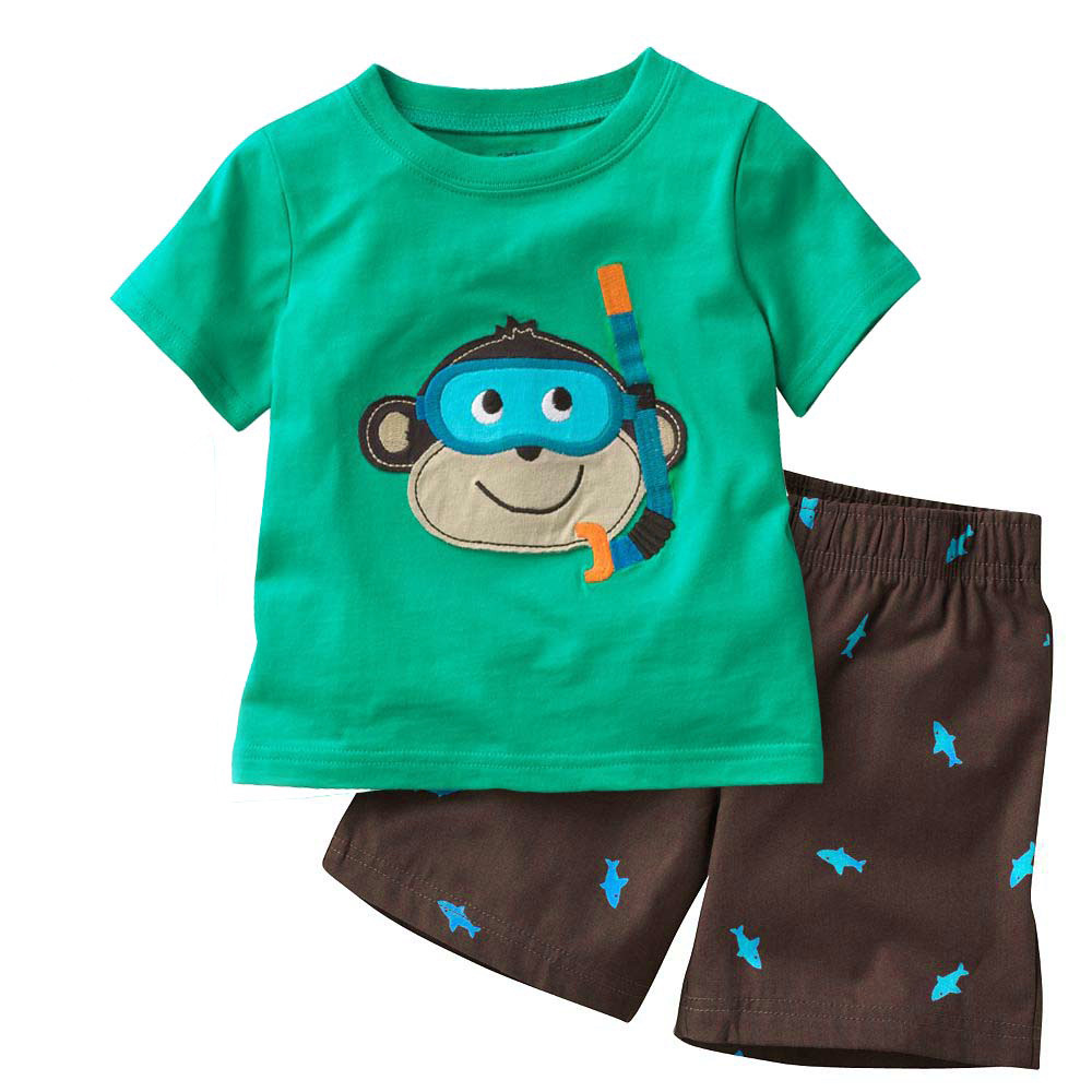 Summer Boys  Children Clothing Set 100% Cotton Cartoon Short Sleeve T shirt and Short  Pants Baby Boy Clothing Set