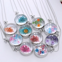 Genuine Dried Flower Pendant Necklace Stylish Round Resin Cabochon Faceted Crystal Women Necklace Float Locket Living