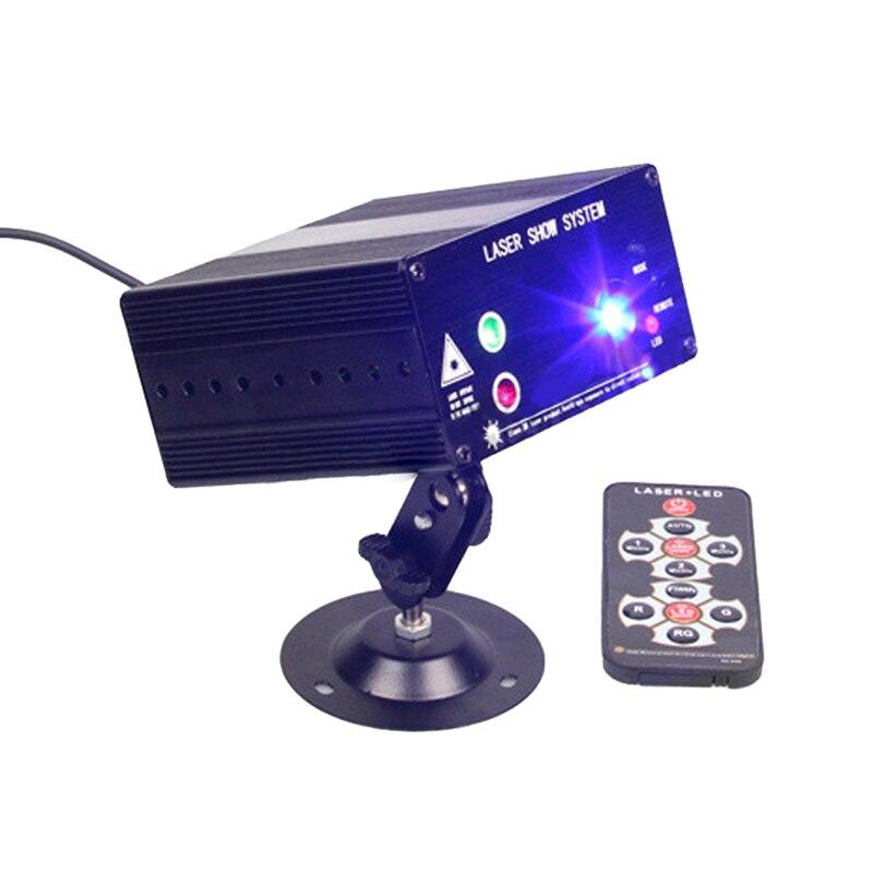 ФОТО 3 Holes 48 Figures Laser Stage Light + LED RGB 12V Stroboscopic Laser Light Red Green Blue AC110-240V 9W DJ KTV Disco Lighting