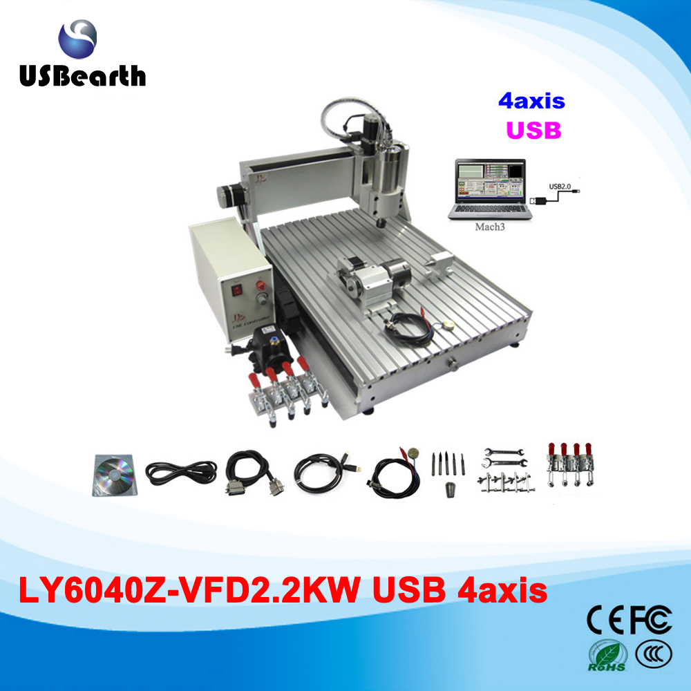 цена на Mini cnc router 6040Z-VFD, 4 axis 2.2kw water cooled spindle, metal carving machine for wood Marble metal