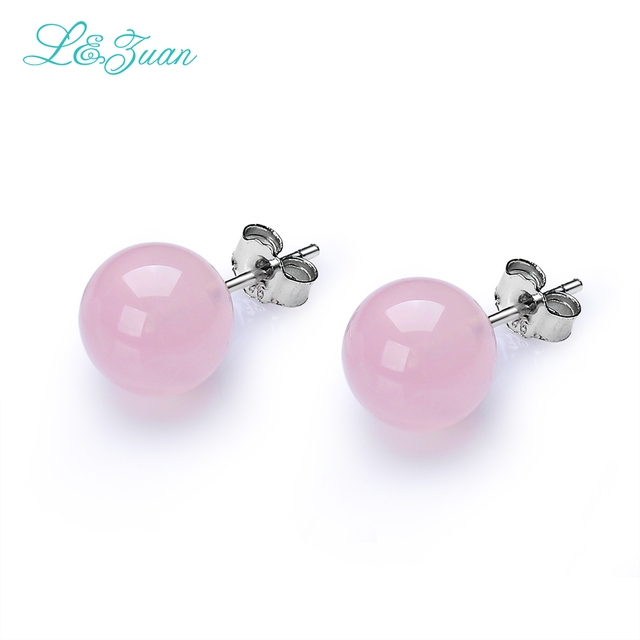 l&zuan S925 silver Rose Quartz Stud Earrings For womens Classic Round Ball 7.6CT