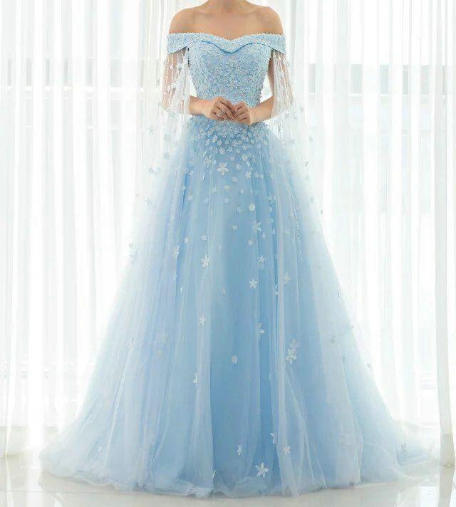 Rf48 light blue wedding gown wedding dress 2016 off the for Wedding dress light blue