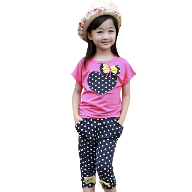 Girls Kids Toddler Shirt T-Shirt + Child Trousers Polka Dot Pants Suit Cloth Two-Piece With Cotton Blend