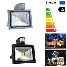 10W 20W 30W 50W PIR Sensor LED Floodlight White AC85-265V Flood Light Outdoor Lighting Lamp Black/Silver Shell Aluminum цена 2017