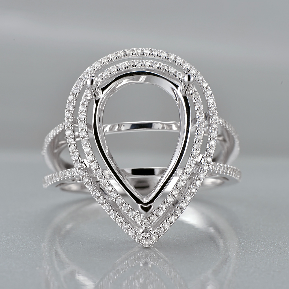 Anniverary 14K White Gold Natural 0.5ct Diamond Engagement Ring Jewelry Semi Mount 15x11mm Pear Cut Setting