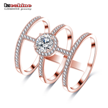 LZESHINE Newest Design Big AAA Round Created Diamond Micro Inlayed Tri-band Unique Cross Rings For Women Party Jewelry CRI0334-B