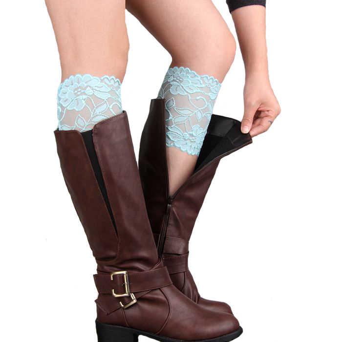 Moda Kadın Bacak Isıtıcıları Hollow Out Çiçek Tasarım Elastik Dantel Toppers Diz Ped Kızlar bot paçaları 12 renk Yüksek Kalite