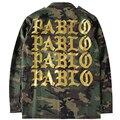 2017 Outono Inverno Temporada 3 Kanye West Yeezy Pablo Camuflagem Verde Do Exército do Revestimento do Revestimento Dos Homens Hiphop Paul Streetwear Jaqueta Militar