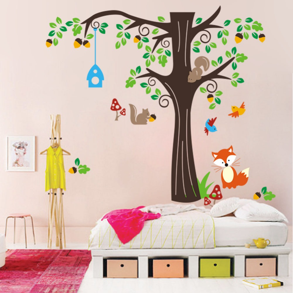 Wall stickers extra - Extra Large One Corner Of The Forest Wall Decals Sticker Playing Under Large Tree Wall Mural Decor Poster Zoo Paradise Art