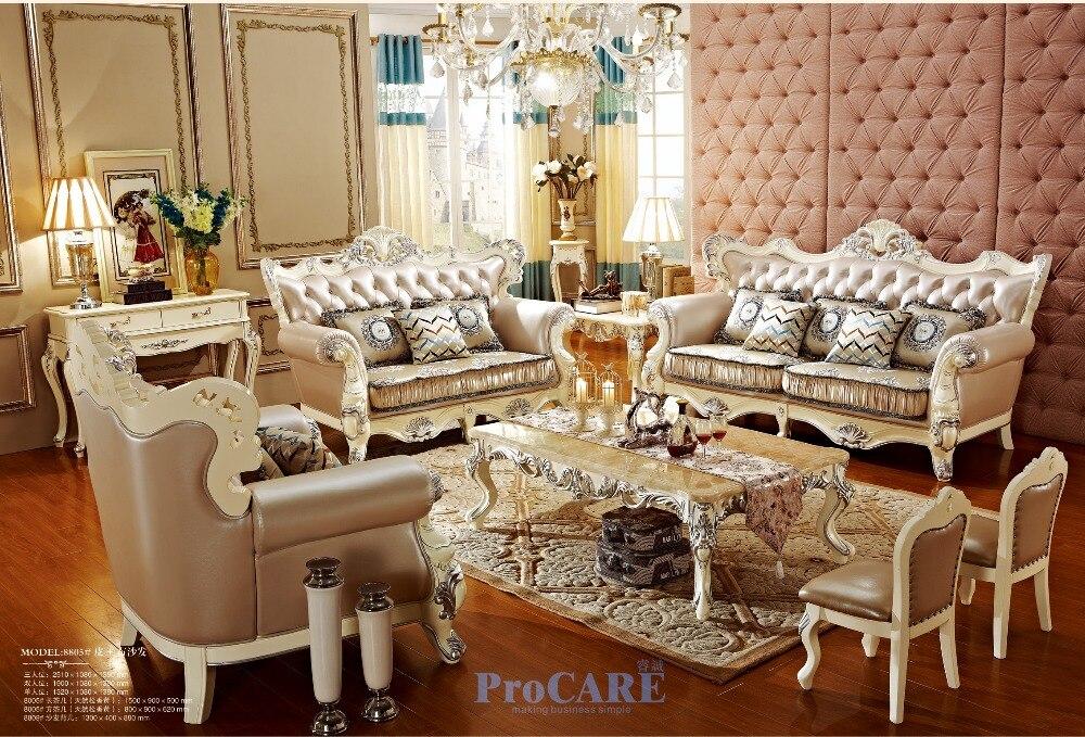 € 5419.68 |USA luxe chêne bois massif en cuir véritable et tissu canapés  sectionnels ensemble salon meubles avec table basse en chine 8805-in ...