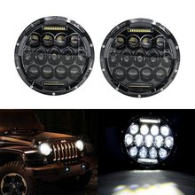 2PCS 75W 7inch Round Halo LED Headlight lamp with DRL Hi/lo Beam for 1997-2016 Jeeeep Wrangler Jk TJ Harley Motorcycle