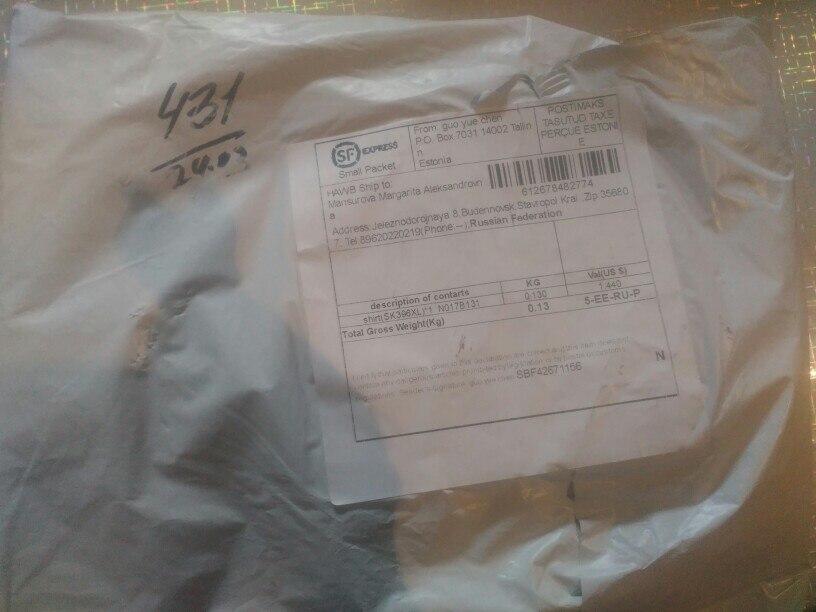 Заказом довольна... посылка шла чуть больше месяца...на размер 44 заказала XL... майка подошла..
