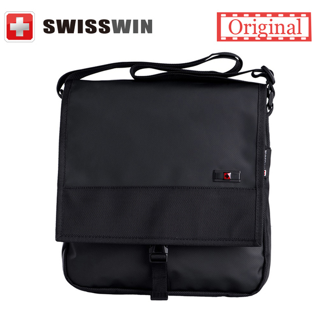 Swisswin bolsa de Negócios Messenger Bag Marca Shoulder Casual Bag Tamanho Médio Preto Livro Satchels Crossbody Zíper Impermeável Saco