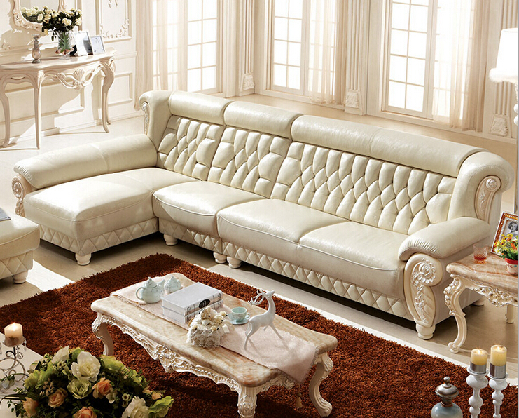 US $1638.0 |New Classic Italian luxury living room white leather sofa with  ottoman 00409 KT120-in Living Room Sofas from Furniture on AliExpress - ...