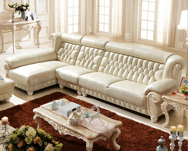 New Classic Italian Luxury Living Room White Leather Sofa With Ottoman  00409 KT120