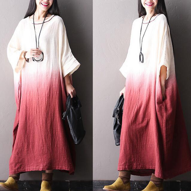 2016 Mori fille dégradé couleur lin lin robe mode longues maxi robes Dubai musulmans chauve-souris manches robe #162