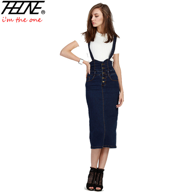 2016 Denim Suspender Skirt for Women Long Elastic Slim Casual Sexy Back Split A-line Plus Size High Waist Jeans Skirts Womens