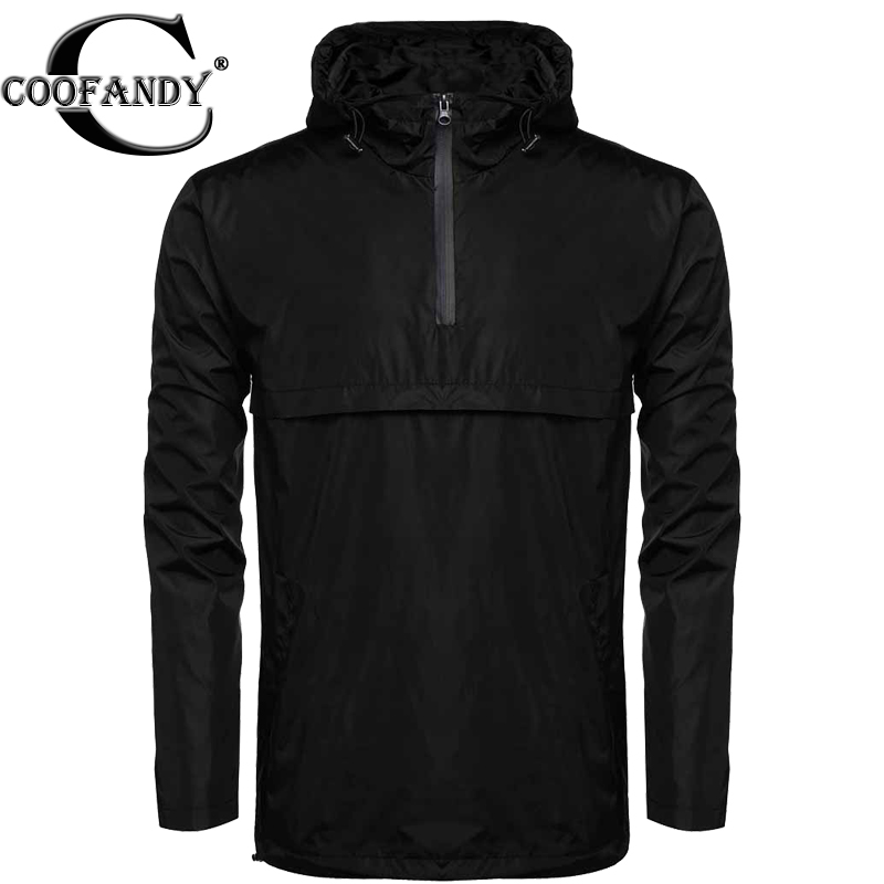 Coofandy Men Hooded Pullover Hoodie Sweatshirt Waterproof Rain Windbreak Pullover Hooded Lightweight Sweatshirt