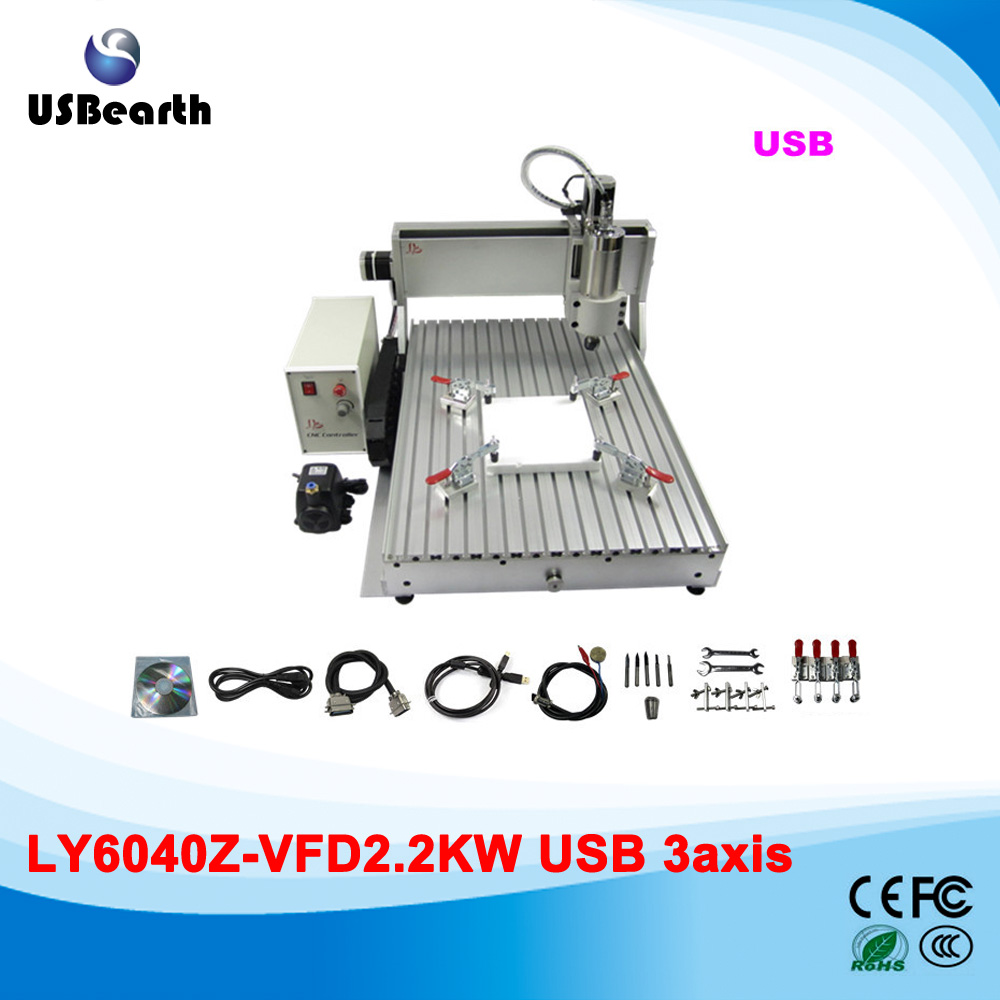 2200W spindle USB port CNC Router CNC 6040 woodworking cutting machine for wood metal aluminum, stone 2016 newest cnc router 3040z dq usb port cnc cutting machine cnc engrave machine