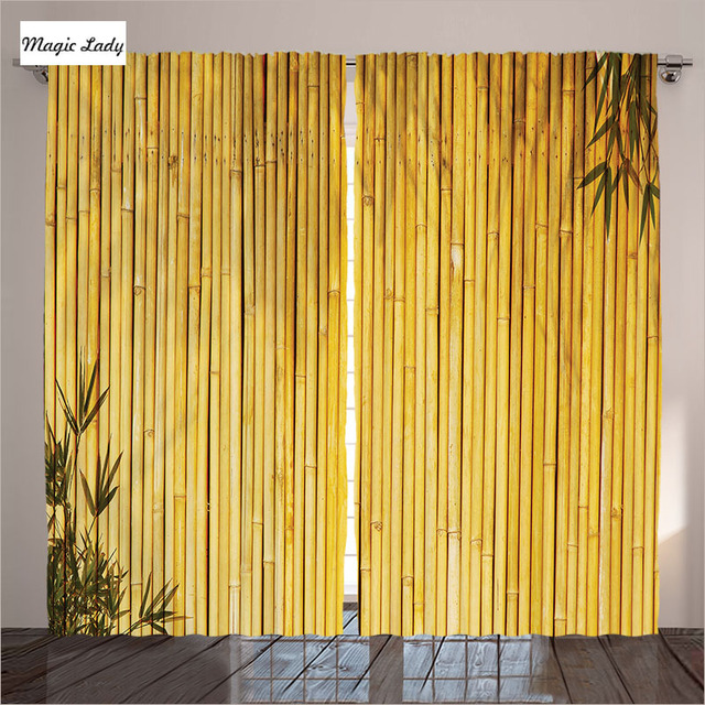 Yellow Curtains Living Room Bedroom Tall Bamboo Stems Oriental Nature Wood  Zen Asian Wildlife Beige 2