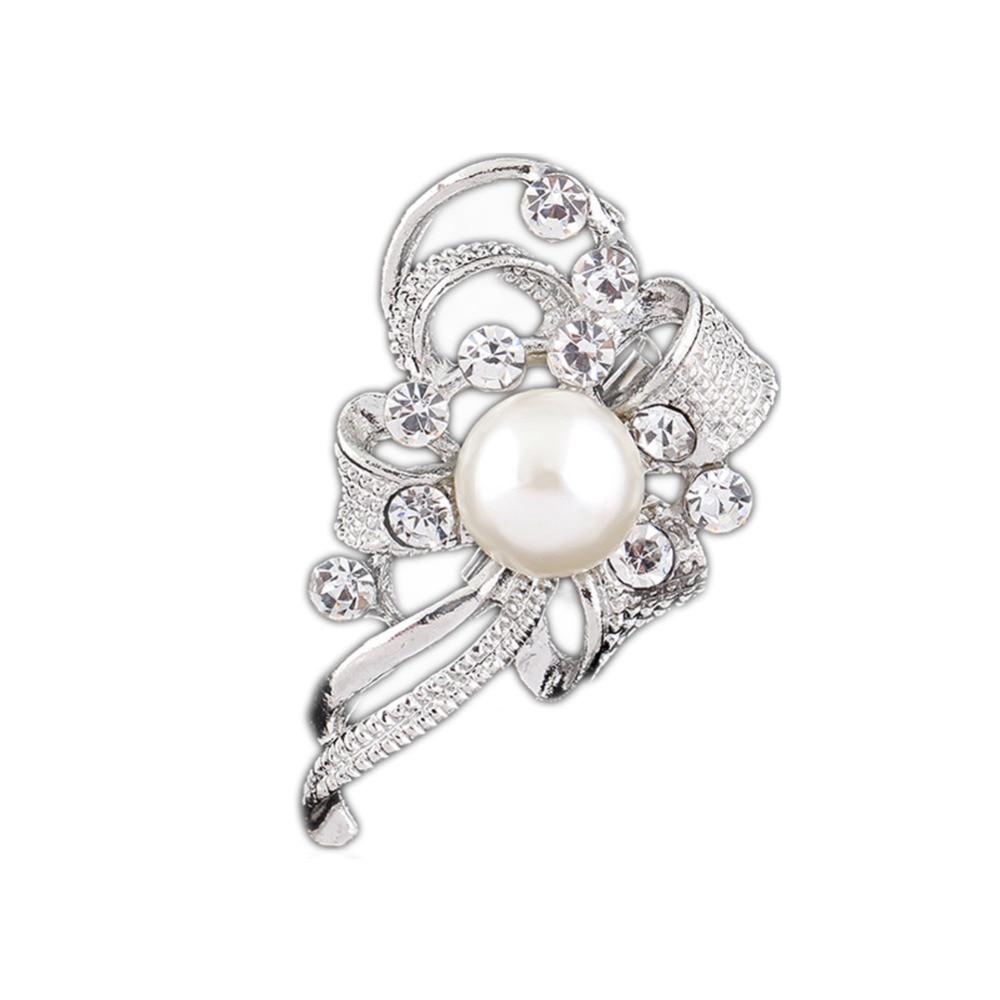 Lowkey V-ogue Jewellery Store Drop Shipping Elegant Jewelry Diamante Bow Silver Brooch Pin Scarf Dress Decoration Gift YBRH-0254