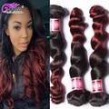 Peruvian Loose Wave Ombre Hair Extensions 2 Tone Human Hair Weave 4 Bundles Ombre Pervian Hair Loose Wave Ms Lula Hair
