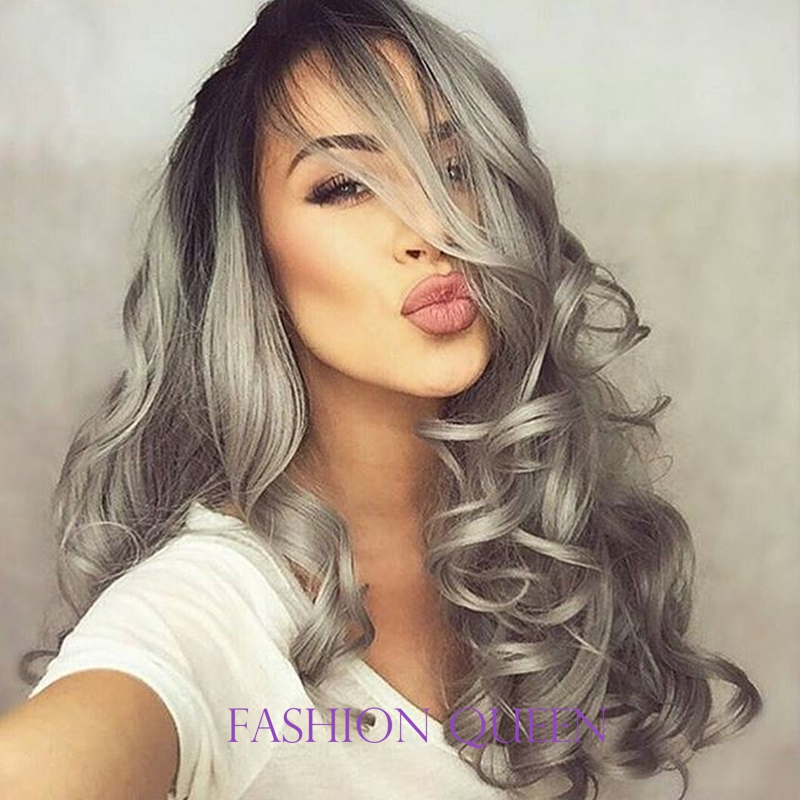 Fashionable Natural Synthetic Ombre hair Grey Lace Front Wig Glueless Long Black Heat Resistant Front Lace Wigs Fast Shipping vel vel 03 06 04 04200