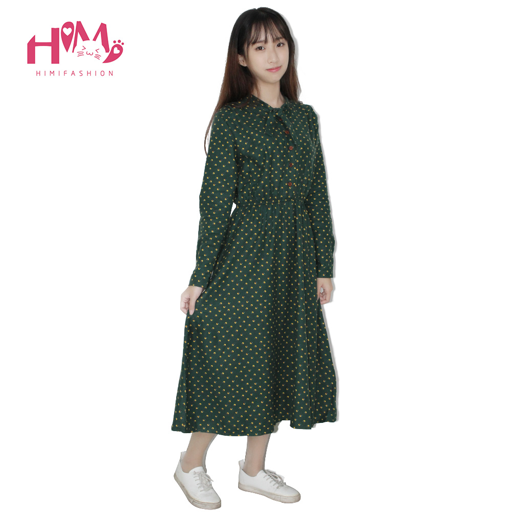 dc3a381672 Cute Green Floral Dress Vintage Ladies Dresses Bohemian Style Autumn Winter  Long Sleeves All Match New ...