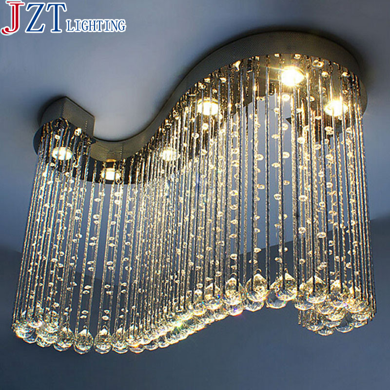 ZYY  Modern S Shaped Clear Crystal Chandelier Light Lamp Pendant Hanging Suspension for Living Room Shop Hotel Decoration modern crystal chandelier led hanging lighting european style glass chandeliers light for living dining room restaurant decor