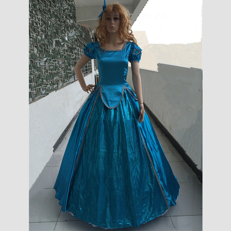 2016 Customized movie Little Mermaid Ariel Dress Cosplay Blue Costume Long Party Costume Women princess Mermaid cosplay dress movie the little mermaid princess ariel costume women ariel fancy dress cosplay dress