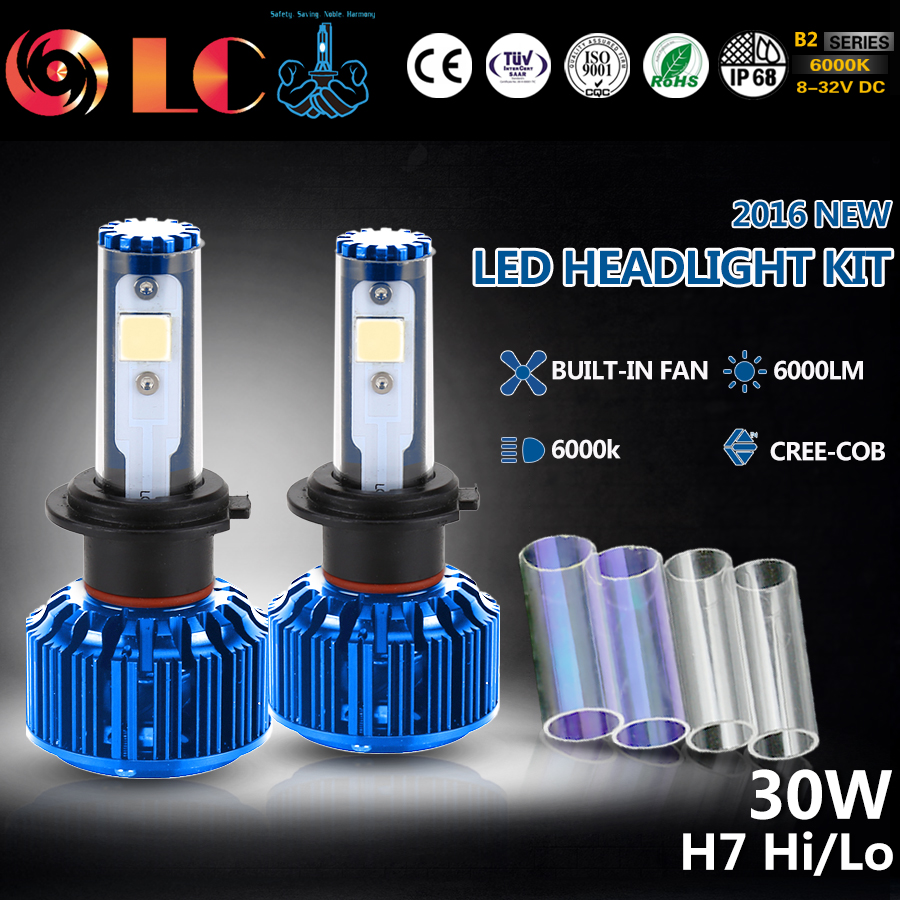 ФОТО 2017 NEW H7 60W 3000LM COB Chip LED Headlight Fog Light Conversion KIT 2 Colors DIY Automobiles Headlamp