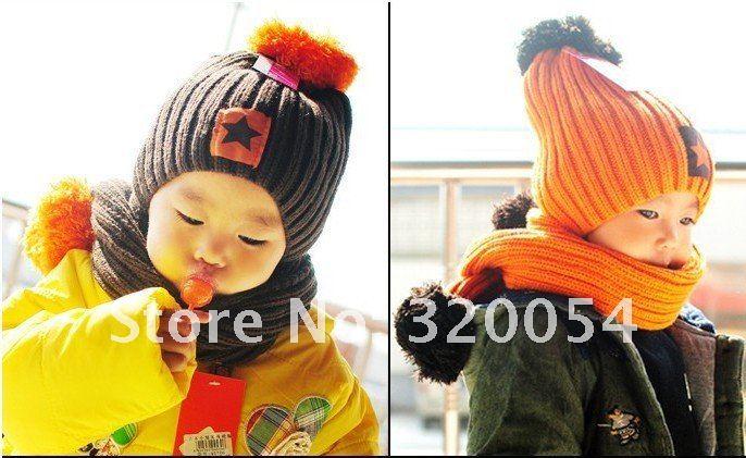 2013 Новая корейская модная детская Кепка с маркировкой звезд+ шарф зимняя теплая шапка для малышей, шарф, четыре цвета