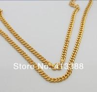 2016 мода 24 к позолоченные ювелирные изделия 5 мм ширина цепи длинное ожерелье высочайшее качество прохладный мужчины ожерелья ювелирные изделия ницца nec1561