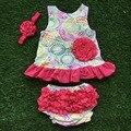 Nuevo diseño para niños columpio top infant toddler trajes hot pink ruffle bloomer con diadema