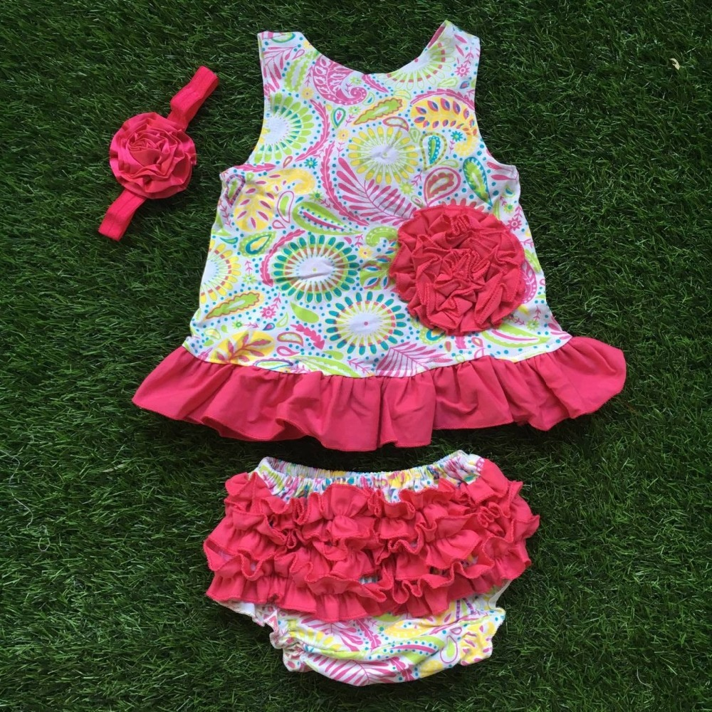 new design kids swing top set infant toddler outfits hot pink ruffle bloomer with headband
