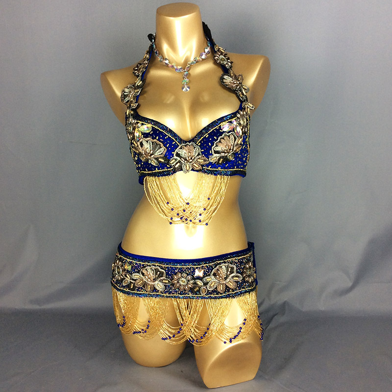 Free shipping New Sexy belly dance costume Handmade Dancing Costume set suit for performancee 6color 3