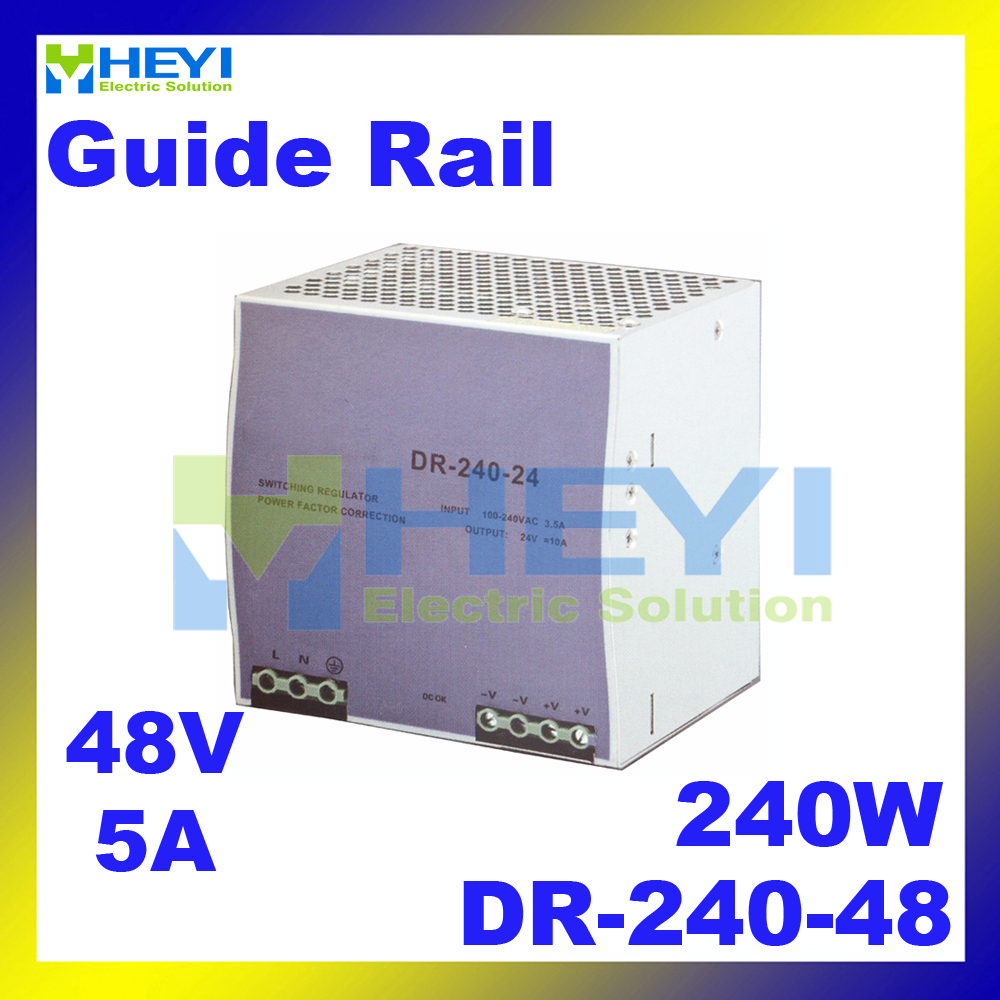 ac dc single output switching 48V 5A 240W voltage converrter DR-240-48 din rail power supply dr 240 din rail power supply 240w 48v 5a switching power supply ac 110v 220v transformer to dc 48v ac dc converter