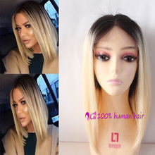 Brazilian Virgin Full Lace Human Hair Wigs Ombre Blonde Two Tone Middle Part Bob Glueless Full Lace Human Hair Wigs
