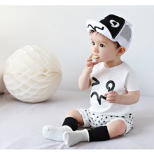 Children cap baby girl and boy hat summer sun hat sun baby black and white flanging cap