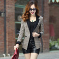 Mulheres blazers Brasão Jacket 2016 Moda Escritório OL Blazers Terno de Lapela Primavera Outono Renda Patchwork Magro Ladies Blazer DX852