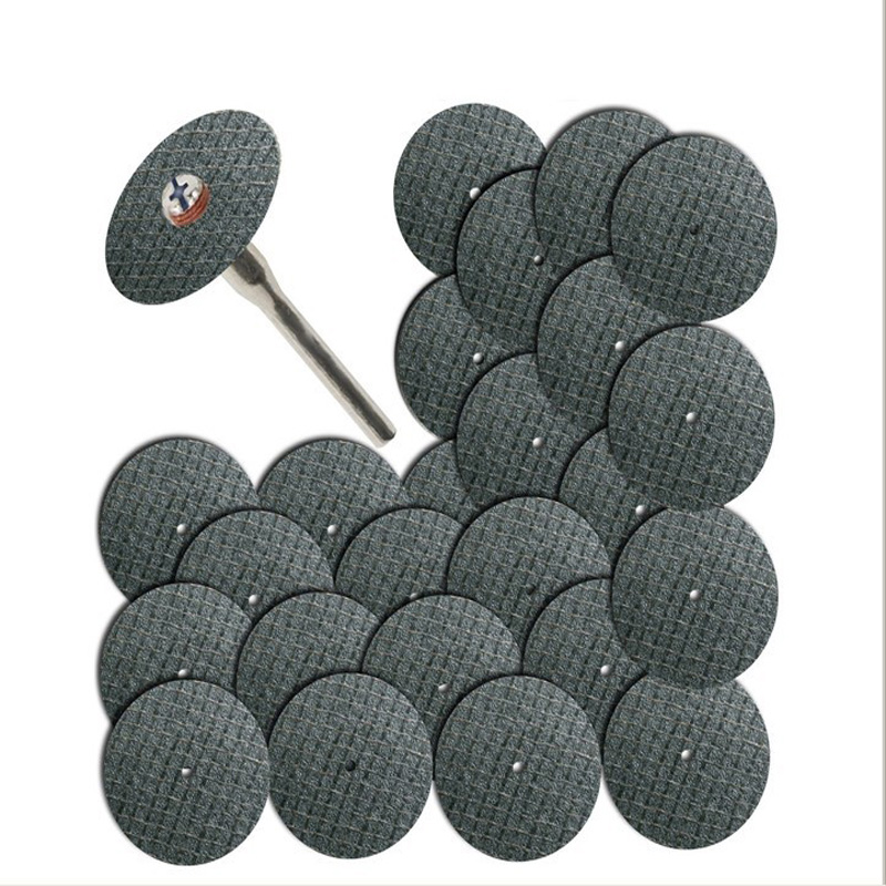 25pc Fiberglass Reinforced Cut Off Wheel Disc W/ 2 Mandrel 1/8