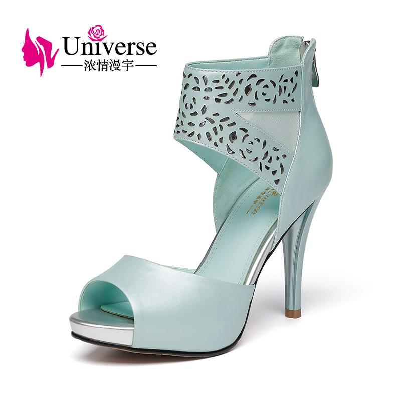 white Black Tacones Altos Zapatos Universo Cuero Plataforma De Sandalias Mujeres Genuino blue Las E048 wOPT6w