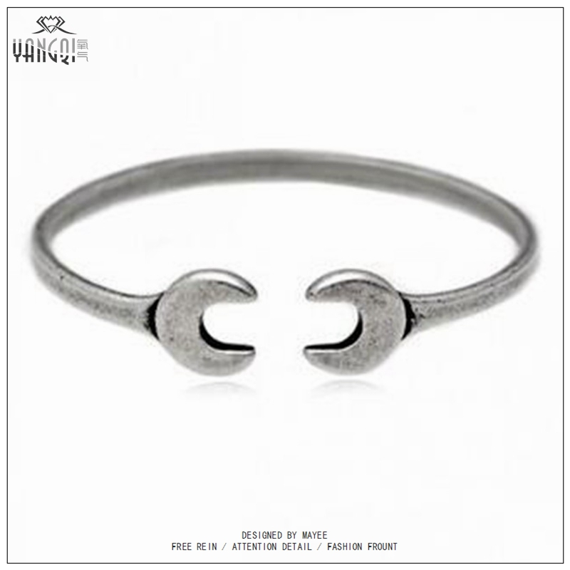 Punk Biker Wrench Tools Bangle Vintage Men Alloy Wrench Mechanic Spanner Bangle Wristband Cuff Bracelet