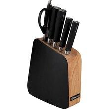 Набор ножей Rondell Balestra 5 предметов RD-484 (4 ножа, ножницы, немецкая нержавеющая сталь, двухсторонняя заточка лезвий, твердость 52-55 HRC, рукоятки из ABS-пластика, деревянная подставка)