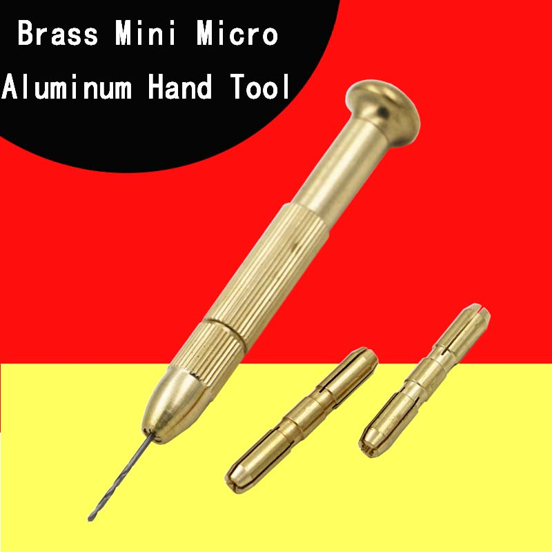 Brass Mini Micro Aluminum Hand Tool Countersink Drill Bit With Keyless Chuck + 10x Twist Drills Rotary Tools mini micro aluminum hand drill with keyless chuck 10 twist drills bits rotary tool set free shipping