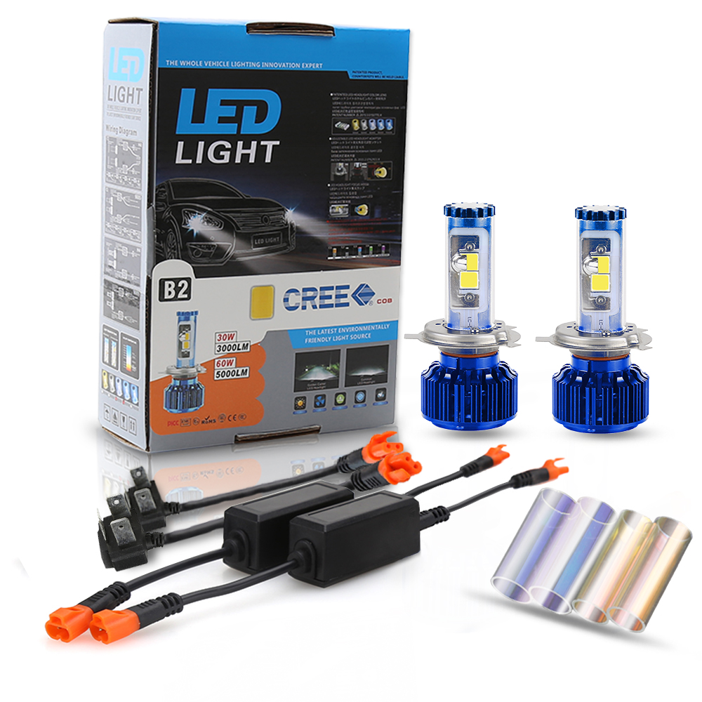 2016 NEW 60W 5000LM Conversion Kit Car COB Chip LED Headlight Bulbs H4 HB2 9003 H13 9004 9007 Hi/Lo Beam new 2pcs 45w 4500lm car led headlight conversion kit 9004 replace bulbs headlight lamp