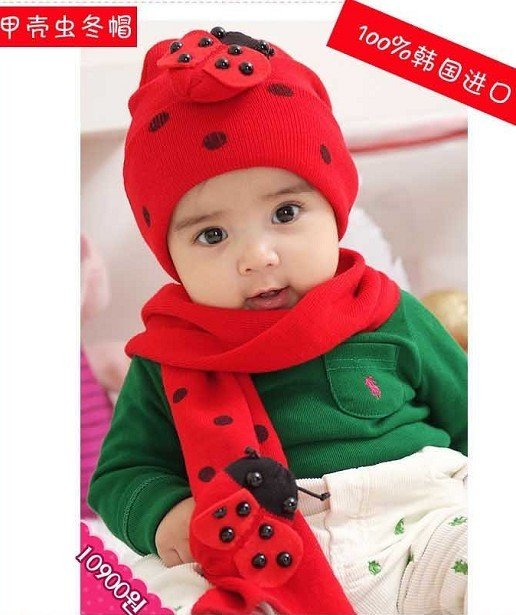 61b80bd20c1 Ladybug hat scarf sets ladybird cap HATS Baby cap Baby hat+scarf set Beetle  cap