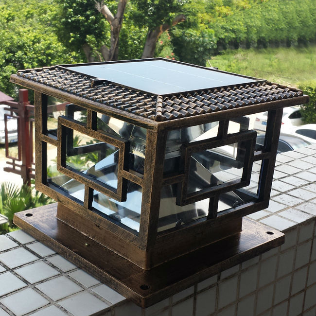 Aliexpress New Arrival Solar Pillar Lamp Outdoor Super Bright Led Gate Light Garden Sets D30 H25cm 1pc From