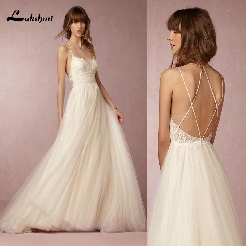 Sexy Appliques Lace A Line Wedding Dresses Floor length Spaghetti Straps wedding Grown Party Vestidos de